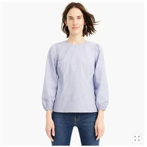 NWT J.Crew puff-sleeve top in end on end cotton